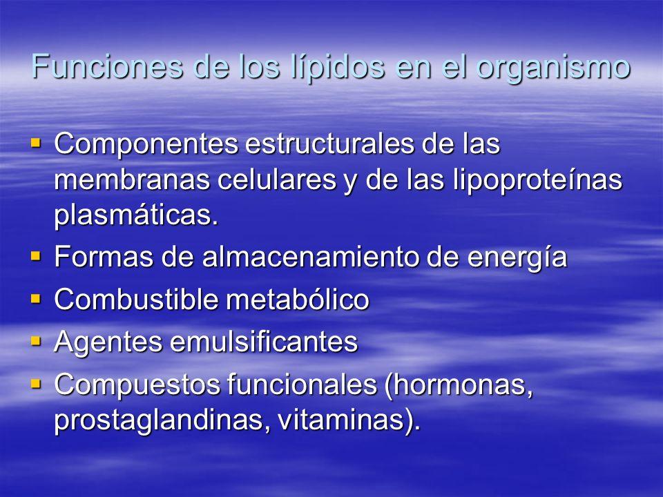 Funciones de los lípidos en el organismo Componentes estructurales de las membranas celulares y de las lipoproteínas plasmáticas. Componentes estructu