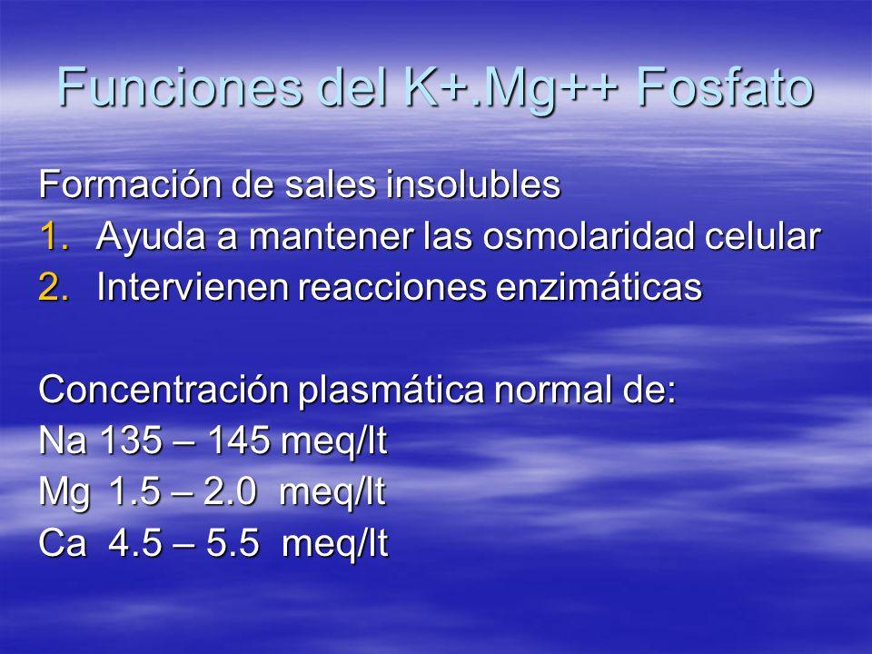 Funciones del K+.Mg++ Fosfato Formación de sales insolubles 1.Ayuda a mantener las osmolaridad celular 2.Intervienen reacciones enzimáticas Concentrac