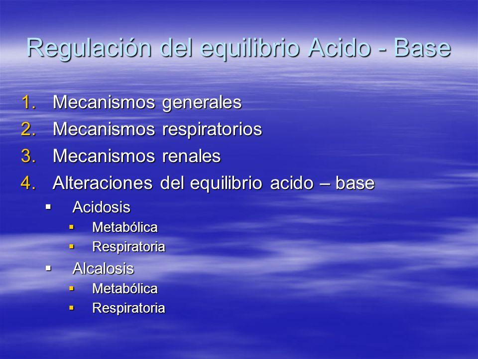Regulación del equilibrio Acido - Base 1.Mecanismos generales 2.Mecanismos respiratorios 3.Mecanismos renales 4.Alteraciones del equilibrio acido – ba