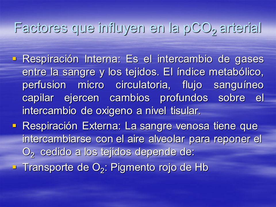 Factores que influyen en la pCO 2 arterial Respiración Interna: Es el intercambio de gases entre la sangre y los tejidos. El índice metabólico, perfus