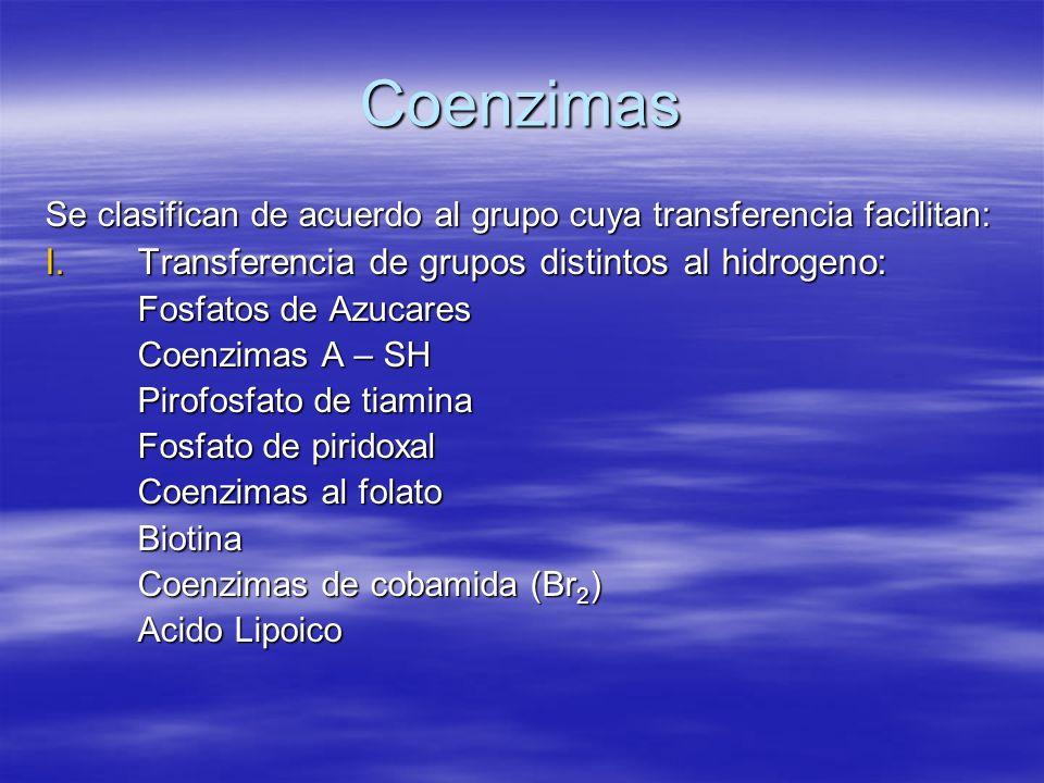 Coenzimas Se clasifican de acuerdo al grupo cuya transferencia facilitan: I.Transferencia de grupos distintos al hidrogeno: Fosfatos de Azucares Coenz