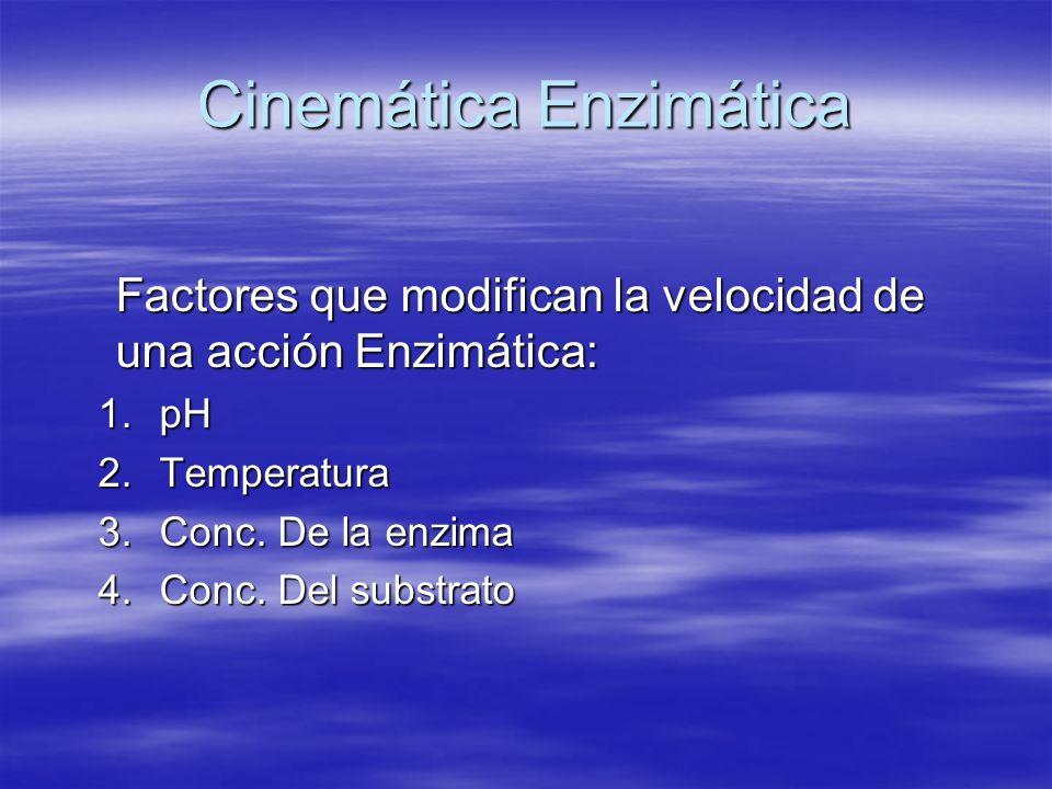 Cinemática Enzimática Factores que modifican la velocidad de una acción Enzimática: 1.pH 2.Temperatura 3.Conc. De la enzima 4.Conc. Del substrato