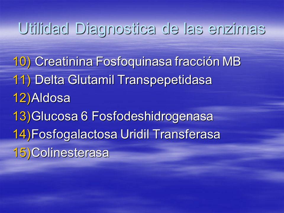 Utilidad Diagnostica de las enzimas 10) Creatinina Fosfoquinasa fracción MB 11) Delta Glutamil Transpepetidasa 12)Aldosa 13)Glucosa 6 Fosfodeshidrogen