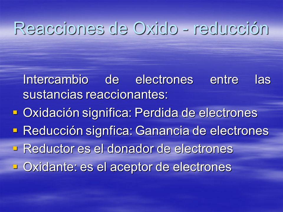 Reacciones de Oxido - reducción Intercambio de electrones entre las sustancias reaccionantes: Oxidación significa: Perdida de electrones Oxidación sig