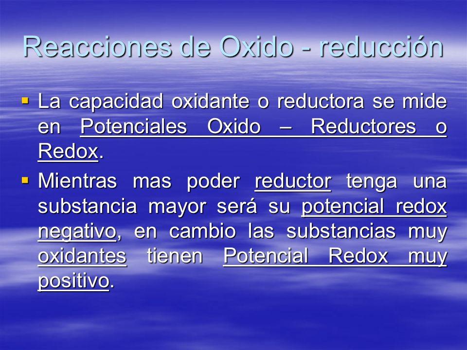 Reacciones de Oxido - reducción La capacidad oxidante o reductora se mide en Potenciales Oxido – Reductores o Redox. La capacidad oxidante o reductora