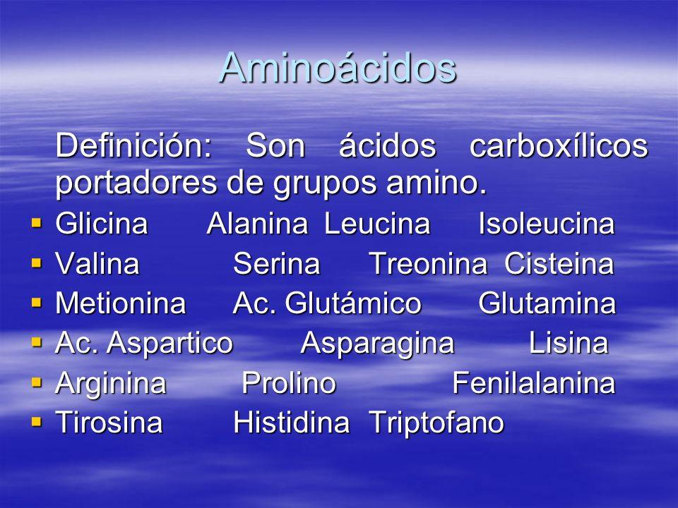 Aminoácidos Definición: Son ácidos carboxílicos portadores de grupos amino. Glicina Alanina Leucina Isoleucina Glicina Alanina Leucina Isoleucina Vali