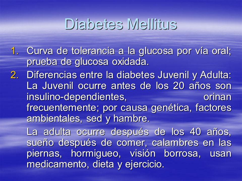 Diabetes Mellitus 1.Curva de tolerancia a la glucosa por vía oral; prueba de glucosa oxidada. 2.Diferencias entre la diabetes Juvenil y Adulta: La Juv