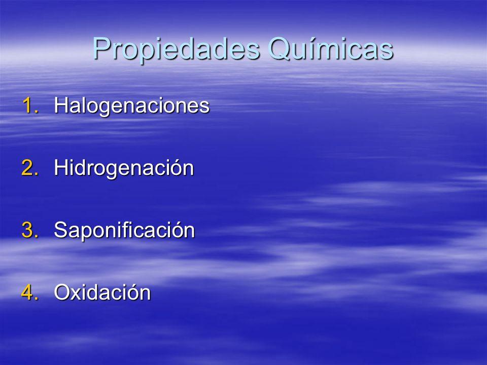 Propiedades Químicas 1.Halogenaciones 2.Hidrogenación 3.Saponificación 4.Oxidación