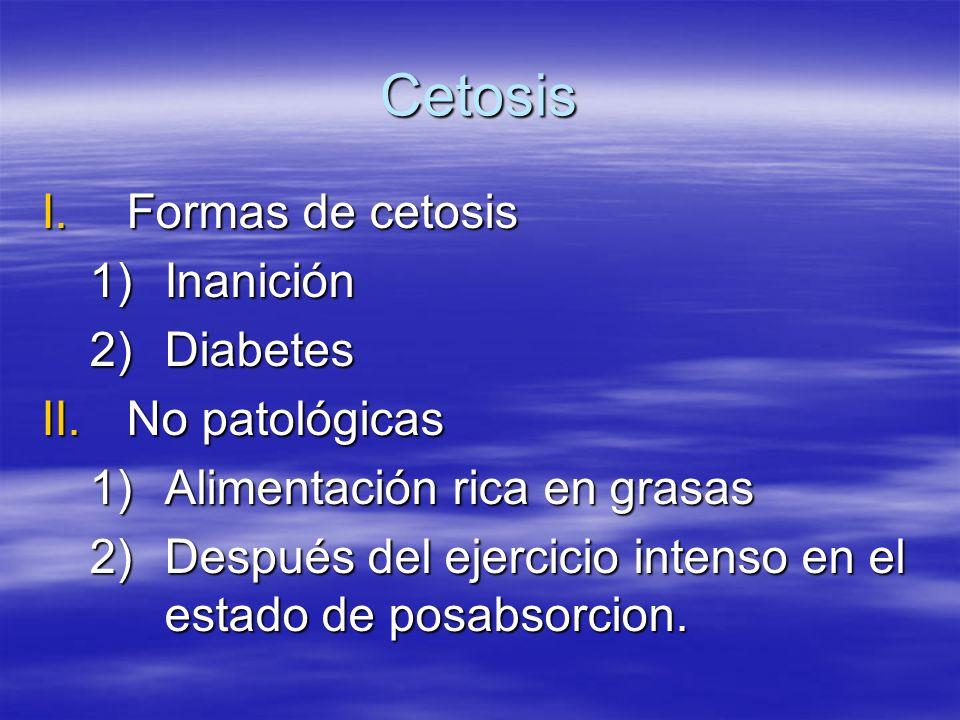 Cetosis I.Formas de cetosis 1)Inanición 2)Diabetes II.No patológicas 1)Alimentación rica en grasas 2)Después del ejercicio intenso en el estado de pos