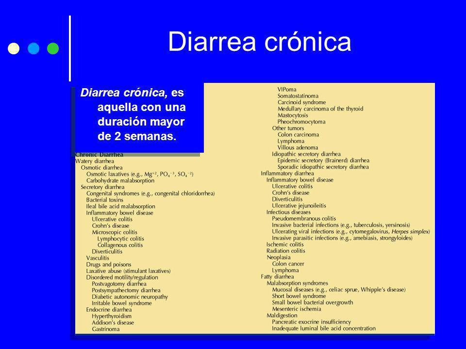 Diarrea crónica Diarrea crónica, es aquella con una duración mayor de 2 semanas.