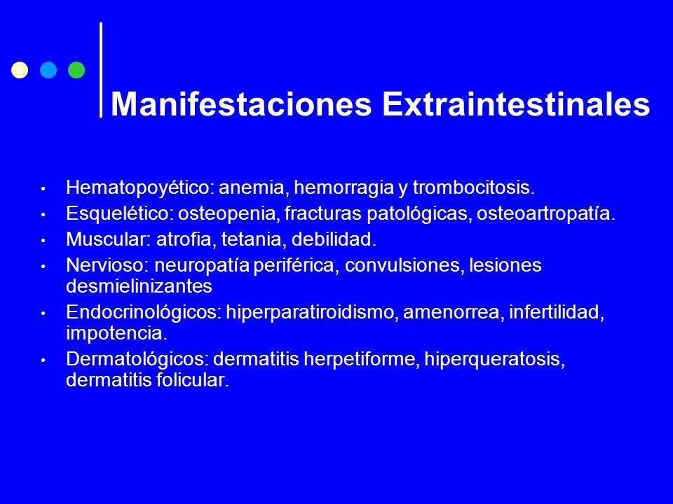 Hematopoyético: anemia, hemorragia y trombocitosis. Esquelético: osteopenia, fracturas patológicas, osteoartropatía. Muscular: atrofia, tetania, debil