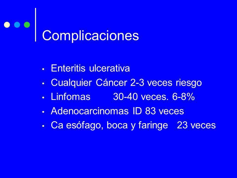 Complicaciones Enteritis ulcerativa Cualquier Cáncer 2-3 veces riesgo Linfomas30-40 veces. 6-8% Adenocarcinomas ID 83 veces Ca esófago, boca y faringe