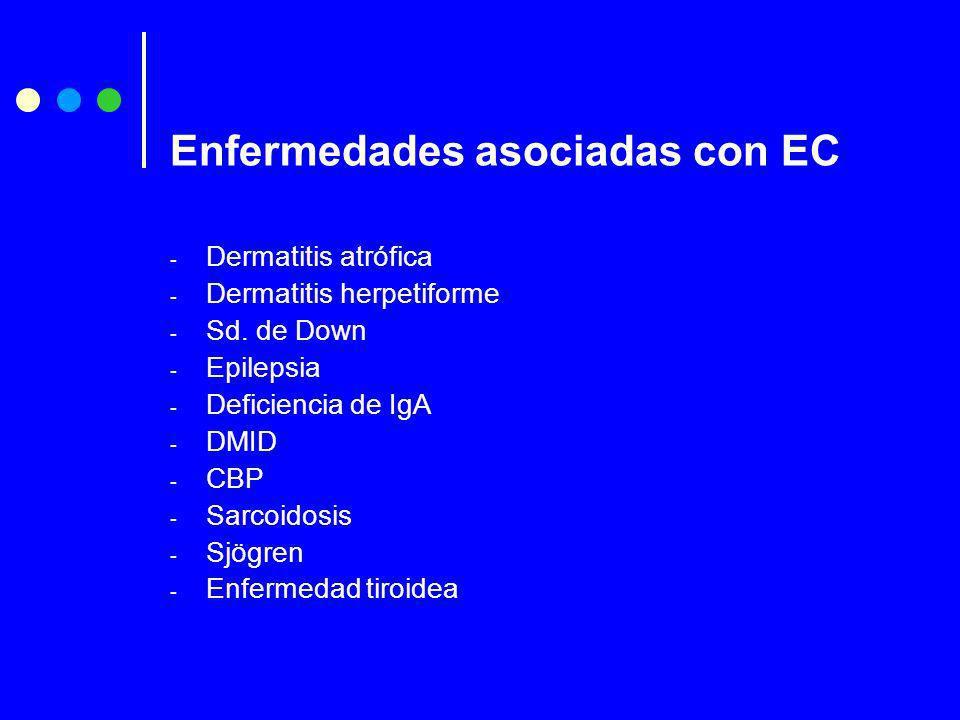 - Dermatitis atrófica - Dermatitis herpetiforme - Sd. de Down - Epilepsia - Deficiencia de IgA - DMID - CBP - Sarcoidosis - Sjögren - Enfermedad tiroi