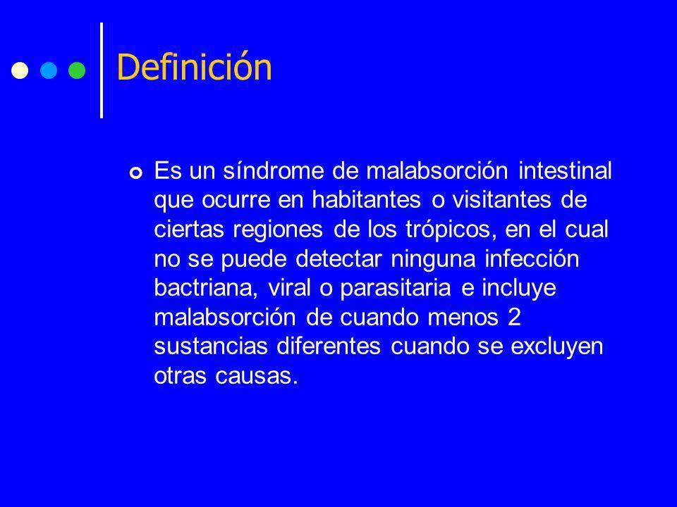 Definición Es un síndrome de malabsorción intestinal que ocurre en habitantes o visitantes de ciertas regiones de los trópicos, en el cual no se puede