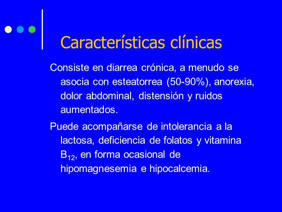 Consiste en diarrea crónica, a menudo se asocia con esteatorrea (50-90%), anorexia, dolor abdominal, distensión y ruidos aumentados. Puede acompañarse