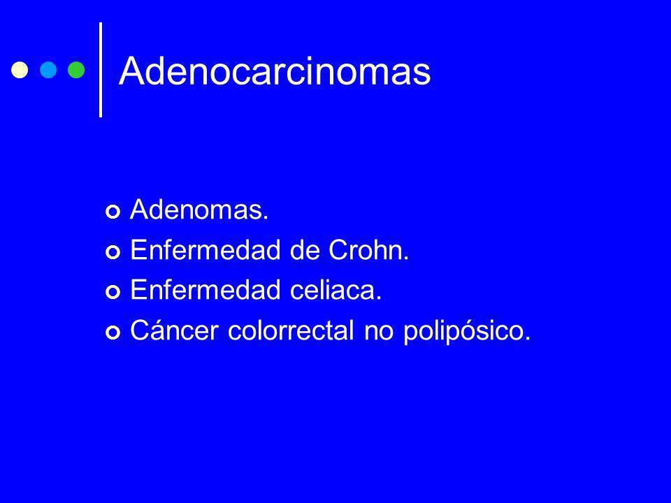 Adenocarcinomas Adenomas. Enfermedad de Crohn. Enfermedad celiaca. Cáncer colorrectal no polipósico.