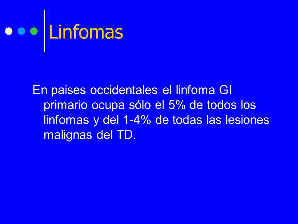En paises occidentales el linfoma GI primario ocupa sólo el 5% de todos los linfomas y del 1-4% de todas las lesiones malignas del TD. Linfomas