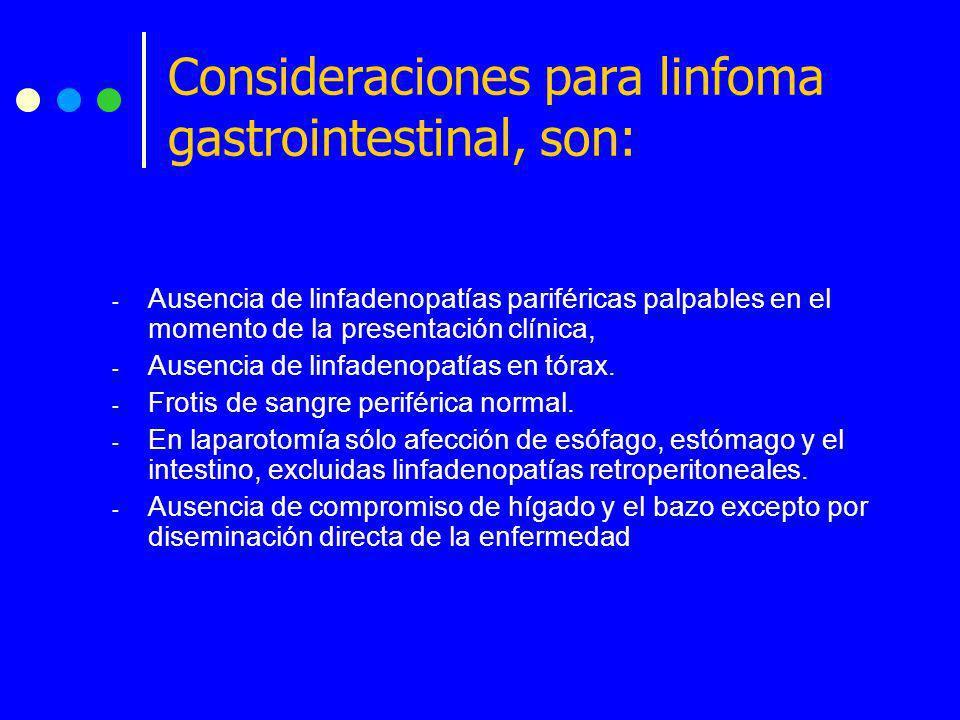 - Ausencia de linfadenopatías pariféricas palpables en el momento de la presentación clínica, - Ausencia de linfadenopatías en tórax. - Frotis de sang