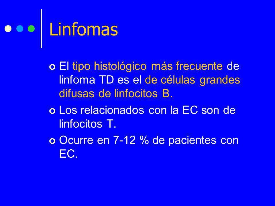 El tipo histológico más frecuente de linfoma TD es el de células grandes difusas de linfocitos B. Los relacionados con la EC son de linfocitos T. Ocur