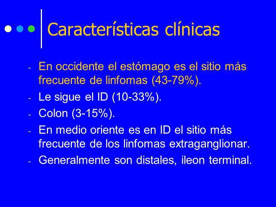 - En occidente el estómago es el sitio más frecuente de linfomas (43-79%). - Le sigue el ID (10-33%). - Colon (3-15%). - En medio oriente es en ID el