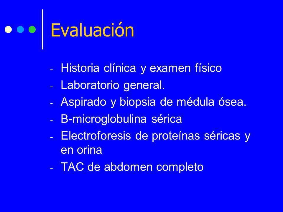- Historia clínica y examen físico - Laboratorio general. - Aspirado y biopsia de médula ósea. - B-microglobulina sérica - Electroforesis de proteínas