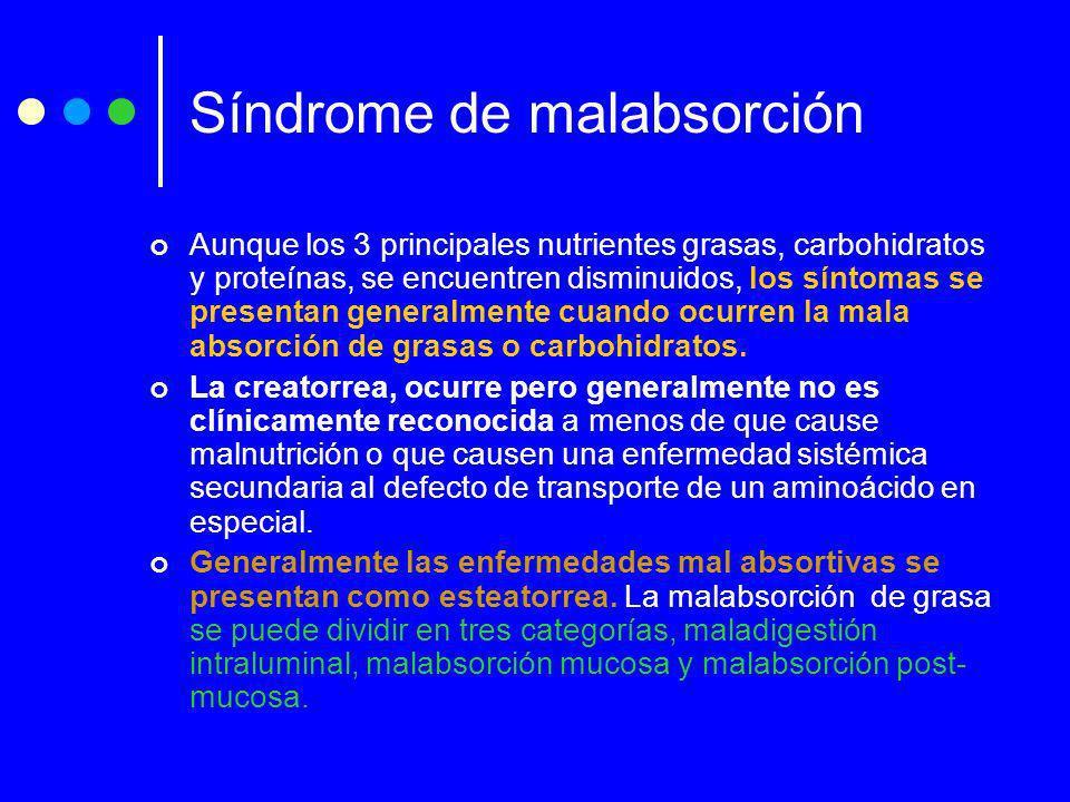 Síndrome de malabsorción Aunque los 3 principales nutrientes grasas, carbohidratos y proteínas, se encuentren disminuidos, los síntomas se presentan g