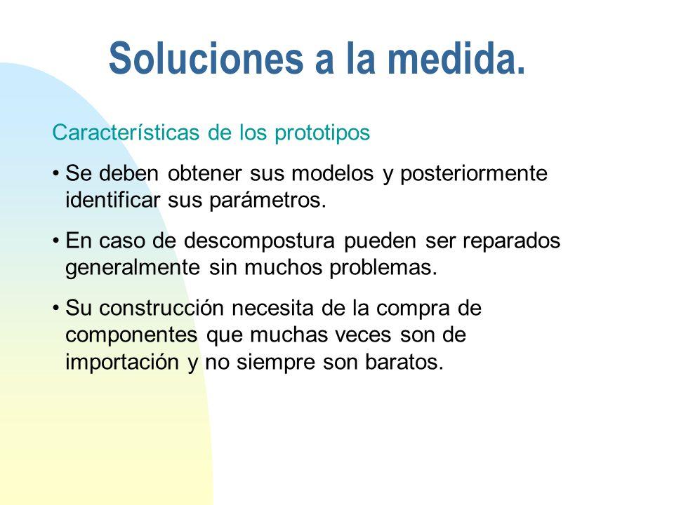 Características de los prototipos Se deben obtener sus modelos y posteriormente identificar sus parámetros.