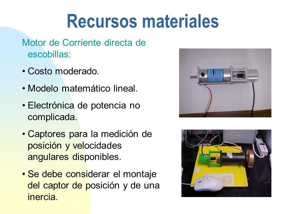 Recursos materiales Motor de Corriente directa de escobillas: Costo moderado.