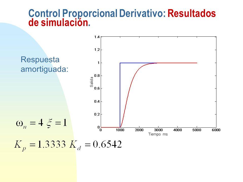 Respuesta amortiguada: Control Proporcional Derivativo: Resultados de simulación.