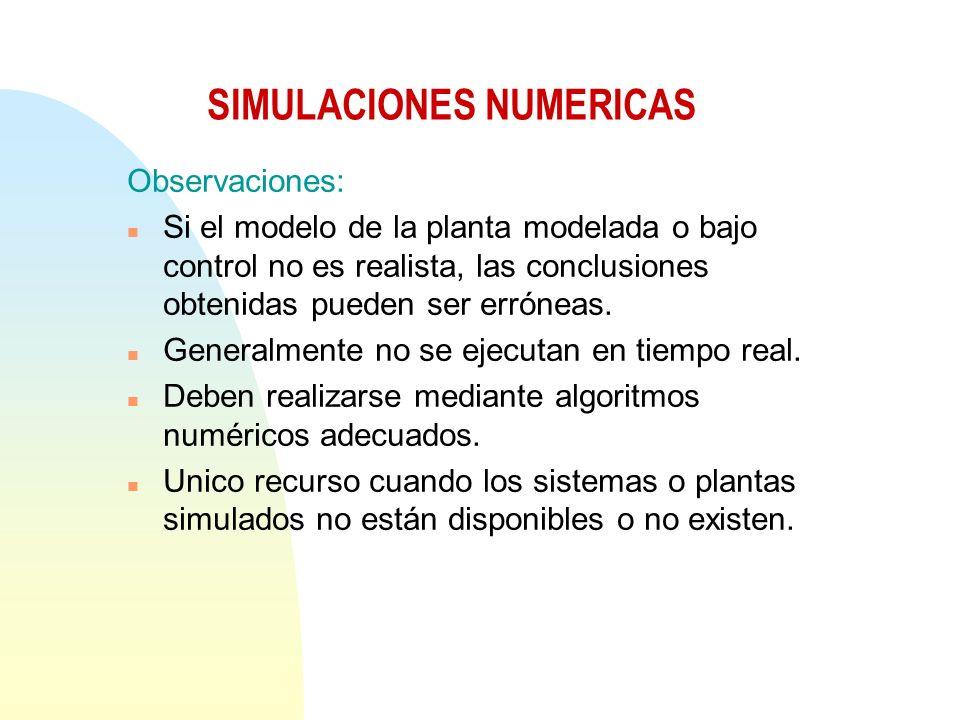 Observaciones: n Si el modelo de la planta modelada o bajo control no es realista, las conclusiones obtenidas pueden ser erróneas.