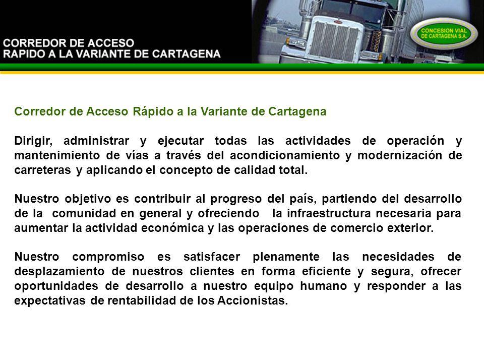 El Corredor Corredor de Acceso Rápido a la Variante de Cartagena Dirigir, administrar y ejecutar todas las actividades de operación y mantenimiento de vías a través del acondicionamiento y modernización de carreteras y aplicando el concepto de calidad total.
