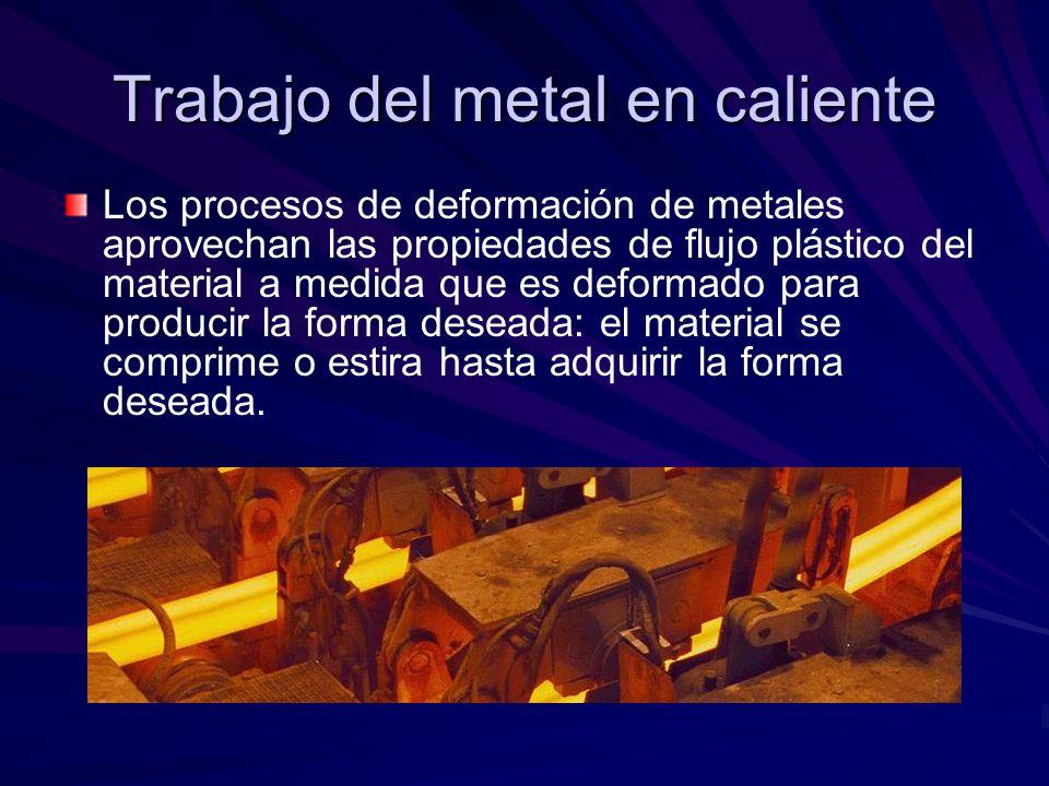 Trabajo del metal en caliente Los procesos de deformación de metales aprovechan las propiedades de flujo plástico del material a medida que es deformado para producir la forma deseada: el material se comprime o estira hasta adquirir la forma deseada.