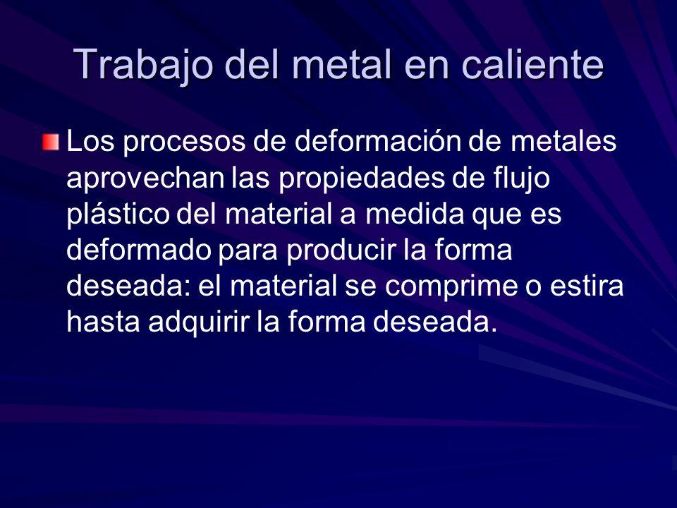 Trabajo del metal en caliente Los procesos de deformación de metales aprovechan las propiedades de flujo plástico del material a medida que es deforma