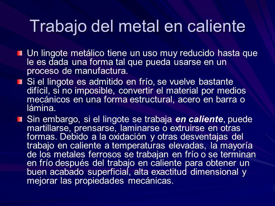 Trabajo del metal en caliente Un lingote metálico tiene un uso muy reducido hasta que le es dada una forma tal que pueda usarse en un proceso de manuf