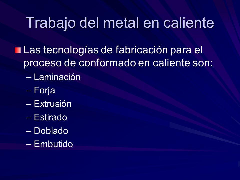 Trabajo del metal en caliente Las tecnologías de fabricación para el proceso de conformado en caliente son: – –Laminación – –Forja – –Extrusión – –Estirado – –Doblado – –Embutido