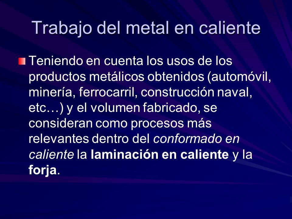 Trabajo del metal en caliente Teniendo en cuenta los usos de los productos metálicos obtenidos (automóvil, minería, ferrocarril, construcción naval, etc…) y el volumen fabricado, se consideran como procesos más relevantes dentro del conformado en caliente la laminación en caliente y la forja.