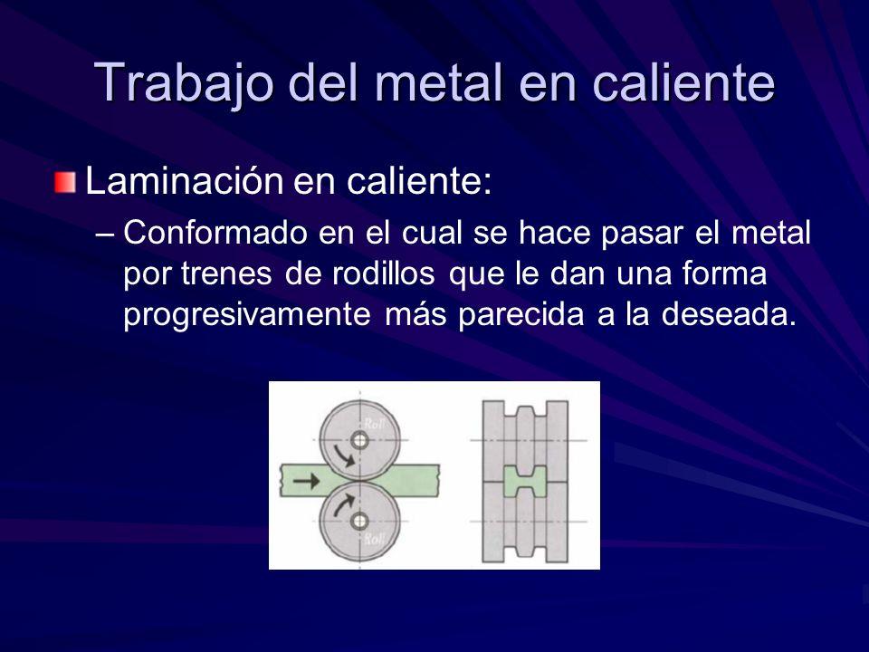 Trabajo del metal en caliente Laminación en caliente: – –Conformado en el cual se hace pasar el metal por trenes de rodillos que le dan una forma progresivamente más parecida a la deseada.