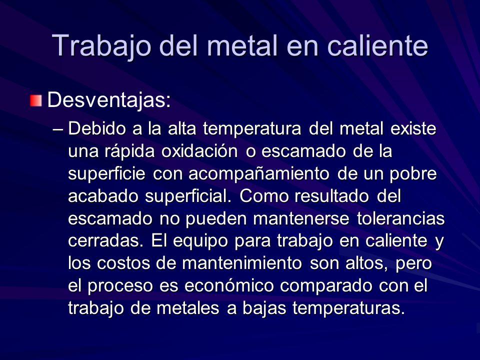 : Desventajas: –Debido a la alta temperatura del metal existe una rápida oxidación o escamado de la superficie con acompañamiento de un pobre acabado