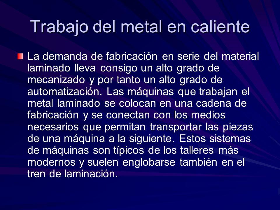 Trabajo del metal en caliente La demanda de fabricación en serie del material laminado lleva consigo un alto grado de mecanizado y por tanto un alto g