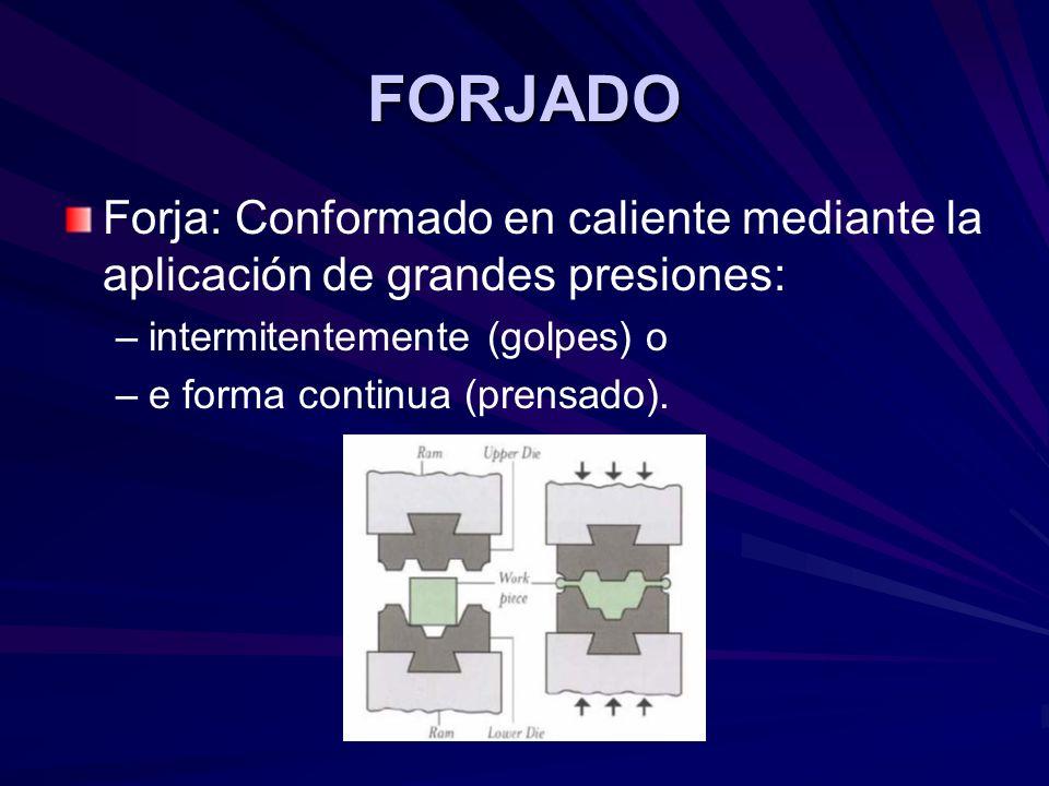 FORJADO Forja: Conformado en caliente mediante la aplicación de grandes presiones: – –intermitentemente (golpes) o – –e forma continua (prensado).