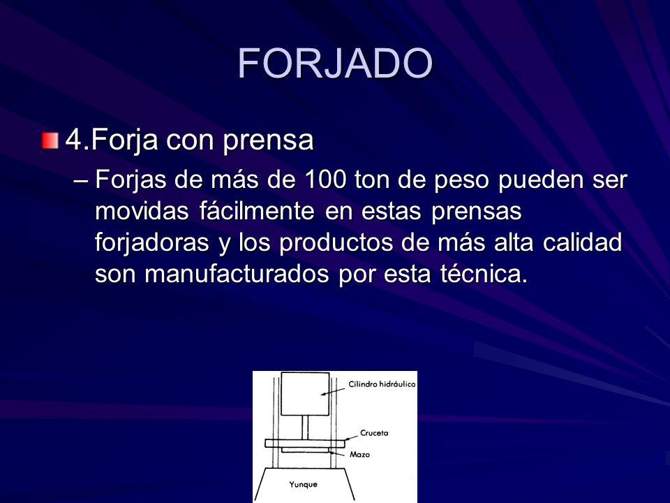 FORJADO 4.Forja con prensa –Forjas de más de 100 ton de peso pueden ser movidas fácilmente en estas prensas forjadoras y los productos de más alta calidad son manufacturados por esta técnica.
