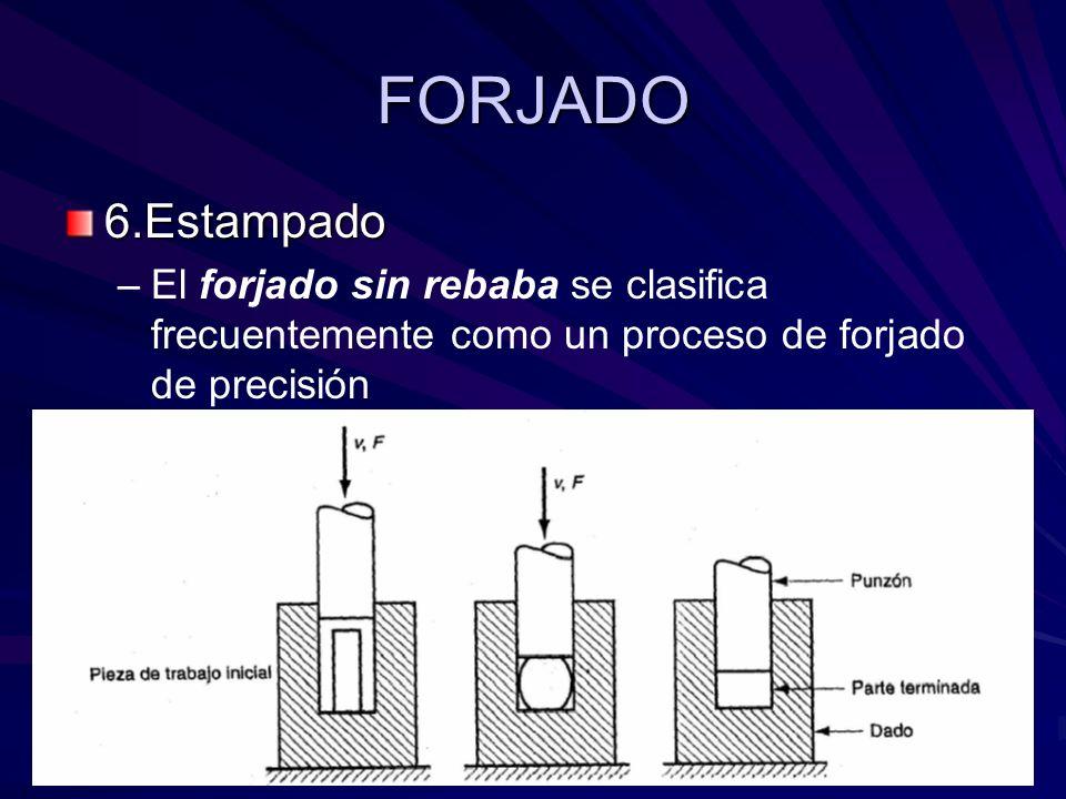FORJADO 6.Estampado – –El forjado sin rebaba se clasifica frecuentemente como un proceso de forjado de precisión