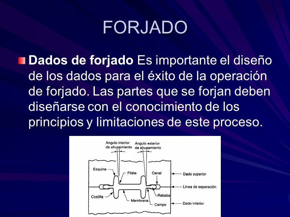 FORJADO Dados de forjado Es importante el diseño de los dados para el éxito de la operación de forjado. Las partes que se forjan deben diseñarse con e