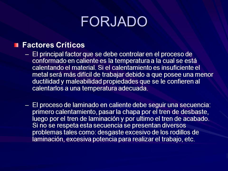 FORJADO Factores Críticos – –El principal factor que se debe controlar en el proceso de conformado en caliente es la temperatura a la cual se está calentando el material.