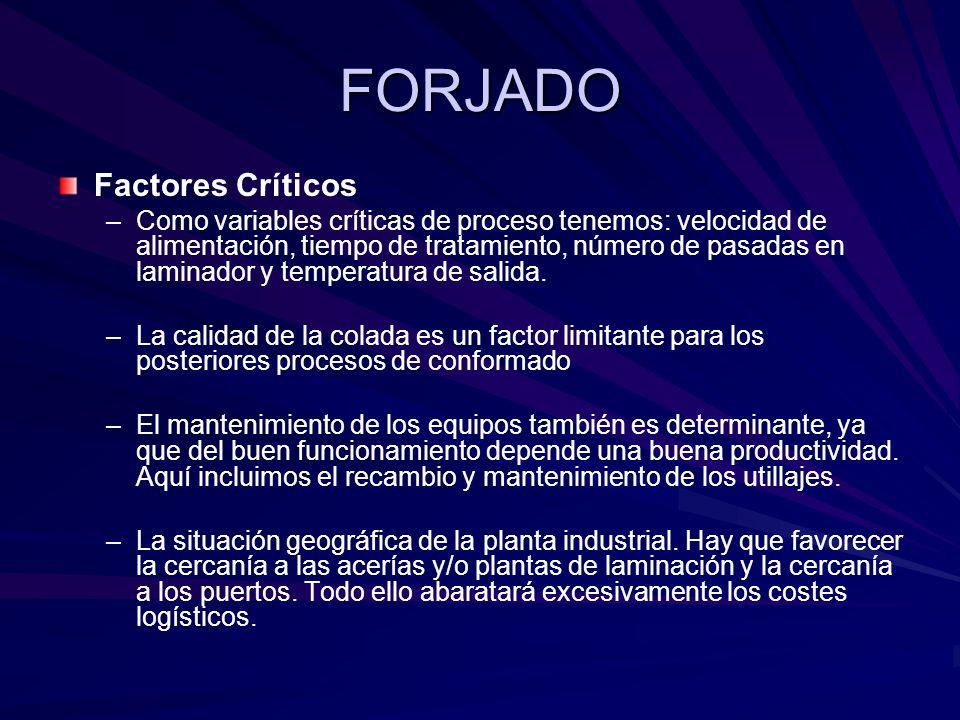 FORJADO Factores Críticos – –Como variables críticas de proceso tenemos: velocidad de alimentación, tiempo de tratamiento, número de pasadas en laminador y temperatura de salida.