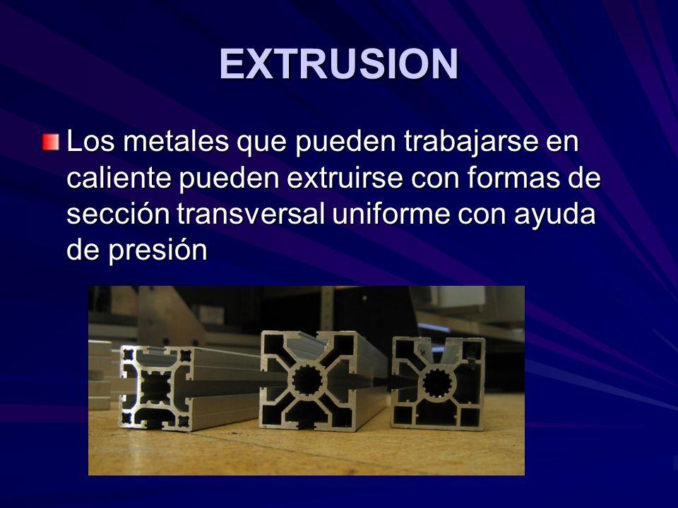 EXTRUSION Los metales que pueden trabajarse en caliente pueden extruirse con formas de sección transversal uniforme con ayuda de presión