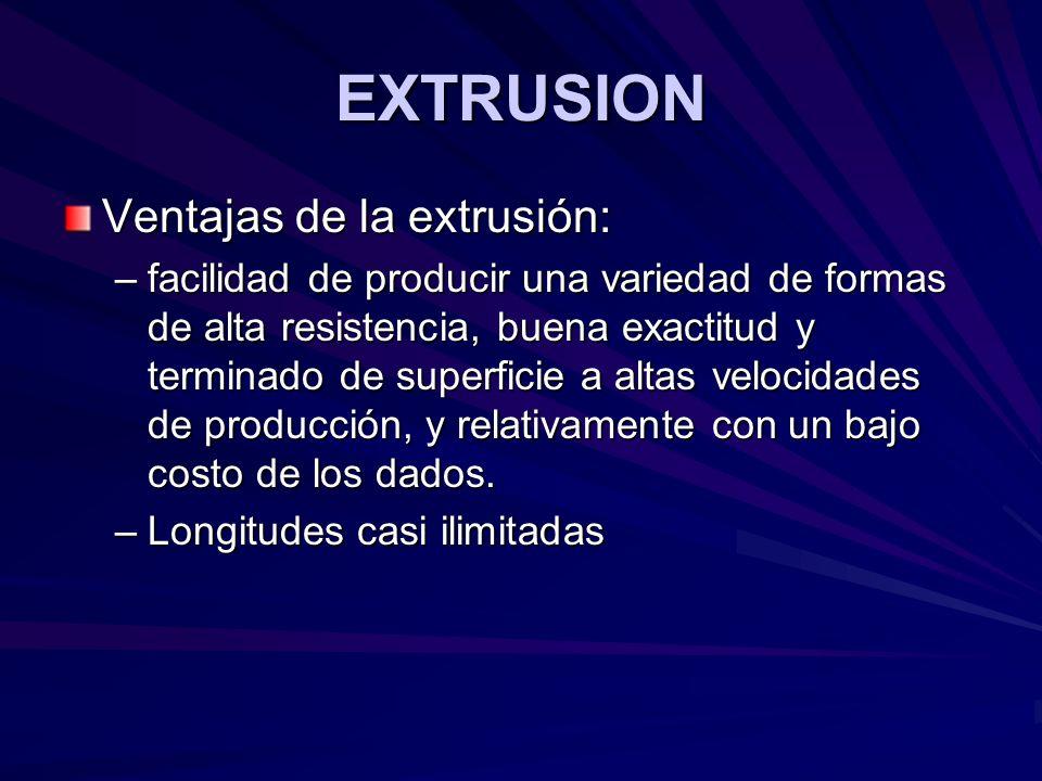 EXTRUSION Ventajas de la extrusión: –facilidad de producir una variedad de formas de alta resistencia, buena exactitud y terminado de superficie a altas velocidades de producción, y relativamente con un bajo costo de los dados.
