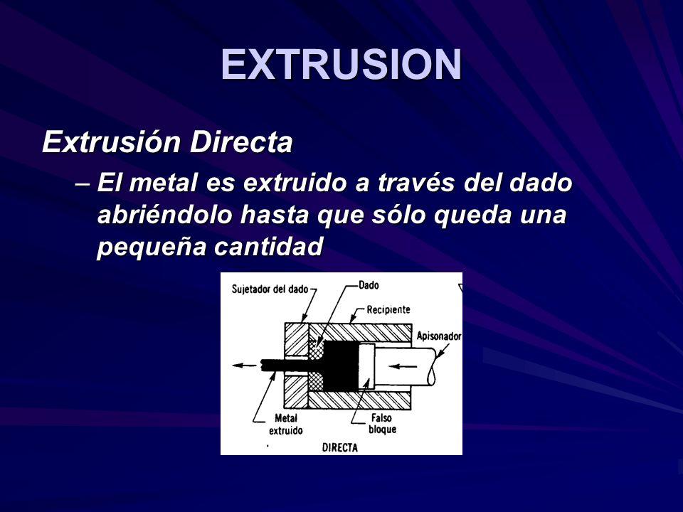 EXTRUSION Extrusión Directa –El metal es extruido a través del dado abriéndolo hasta que sólo queda una pequeña cantidad