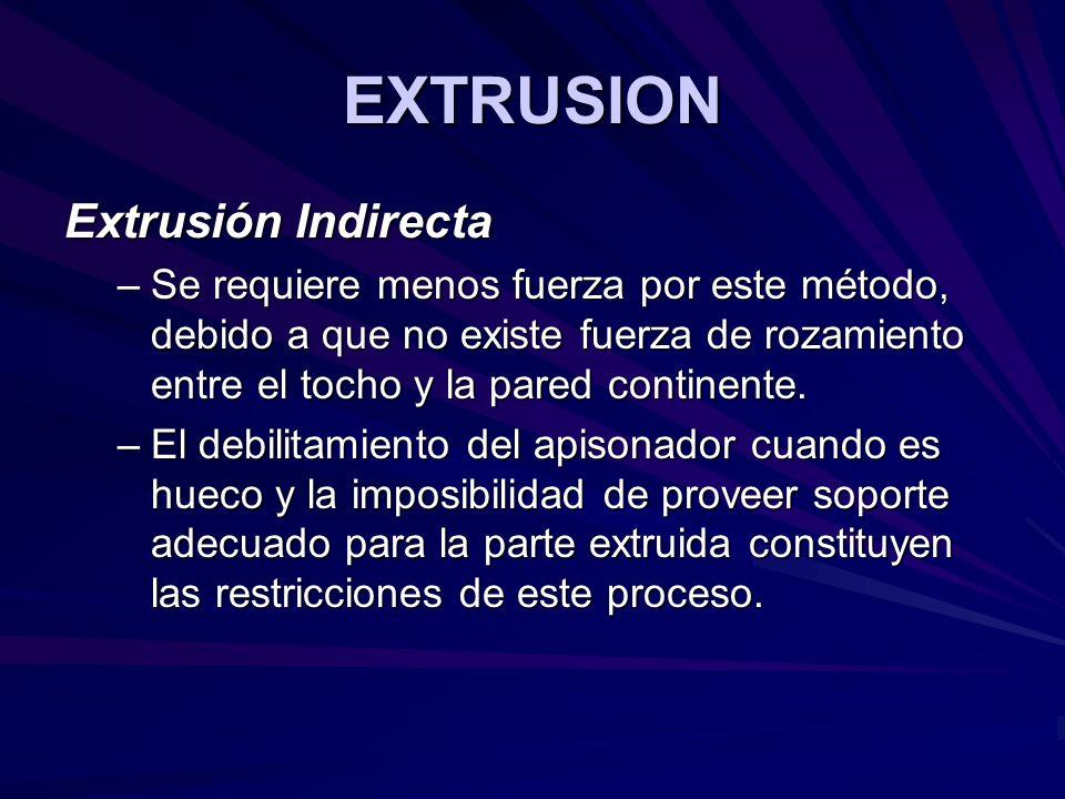 EXTRUSION Extrusión Indirecta –Se requiere menos fuerza por este método, debido a que no existe fuerza de rozamiento entre el tocho y la pared continente.
