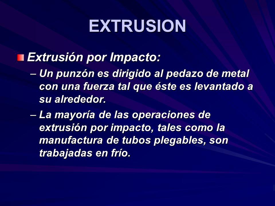 EXTRUSION Extrusión por Impacto: –Un punzón es dirigido al pedazo de metal con una fuerza tal que éste es levantado a su alrededor. –La mayoría de las